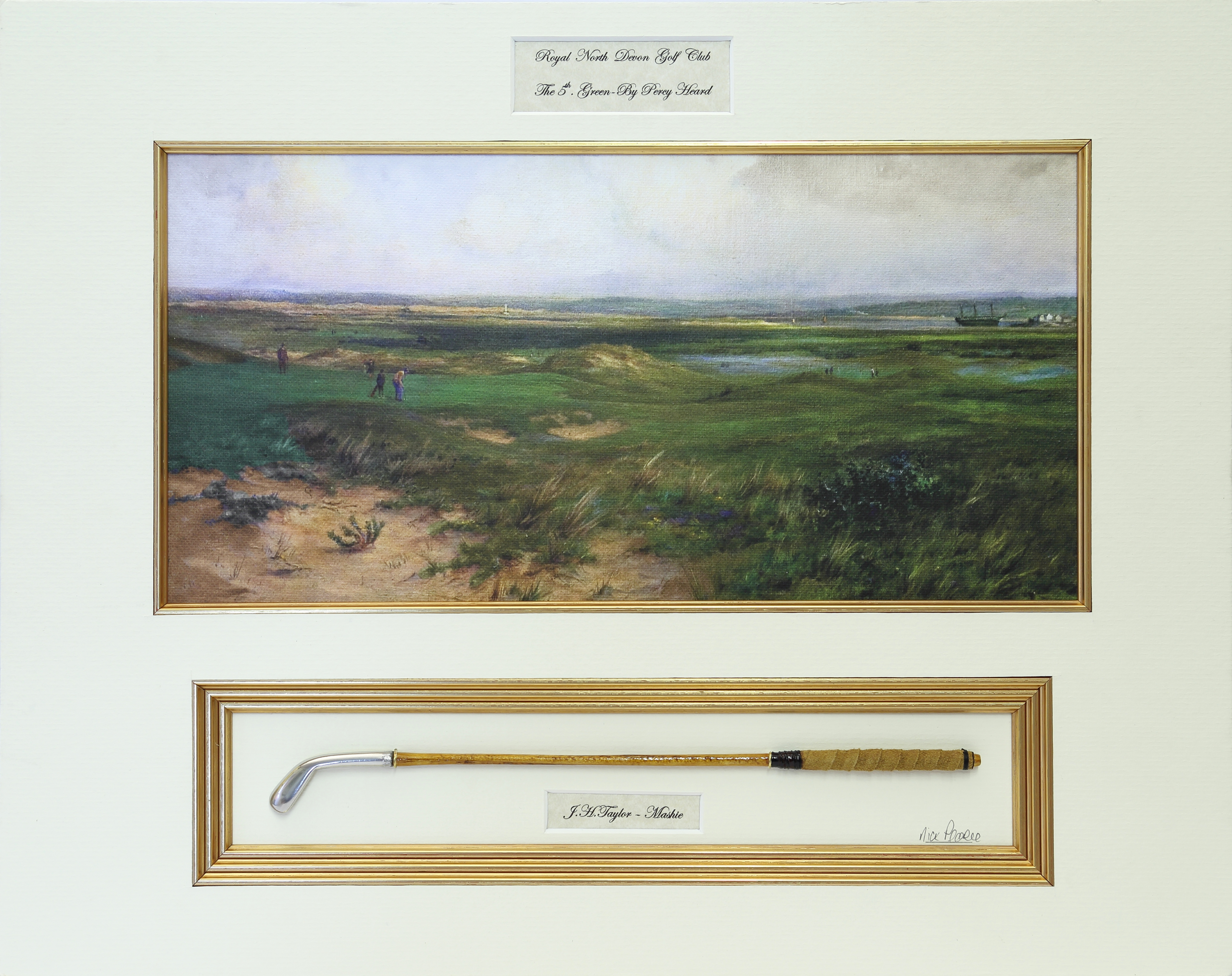 "Fifth Green by Percy Heard with replica ""mashie"""